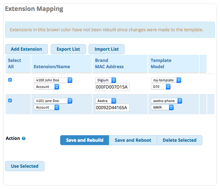 Screenshot of the Extension Mapping for the FreePBX module - EndPoint Manager