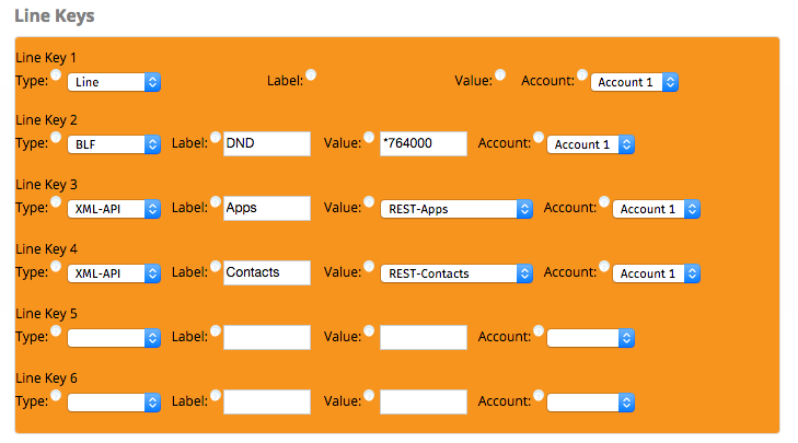 Screenshot of Line Keys from the FreePBX module - EndPoint Manager