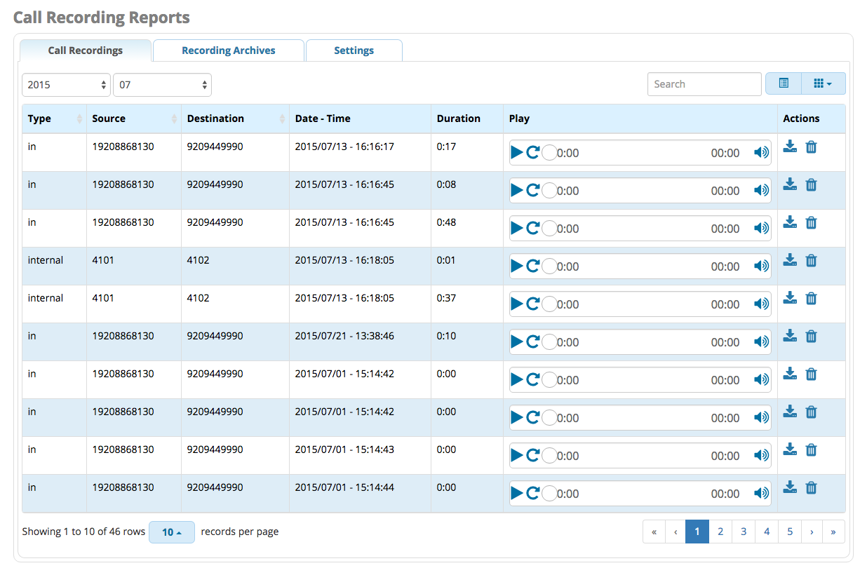 Call Recording Reports Interface
