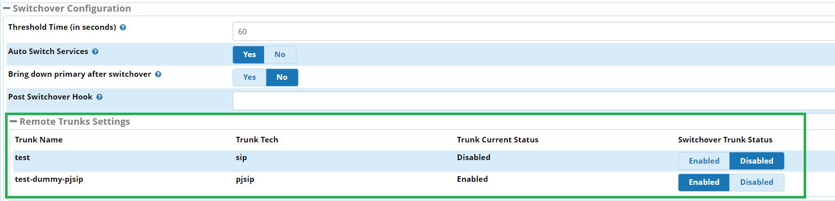 FreePBX Module - Advanced Recovery - Trunk Selection