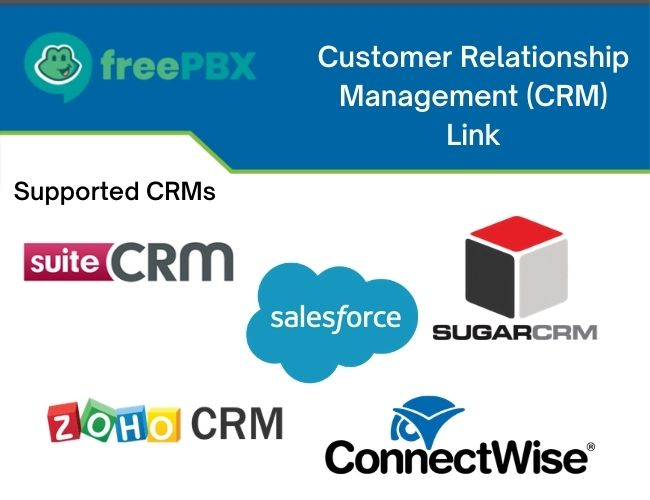 Customer Relationship Management (CRM) Link - Supported CRMs - suiteCRM, salesforce, SUGARCRM, ZOHO CRM, ConnectWise
